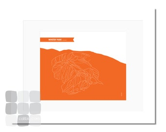 Winter Park Ski Trail Map includes Mary Jane- 8x10 - Modern Art Print