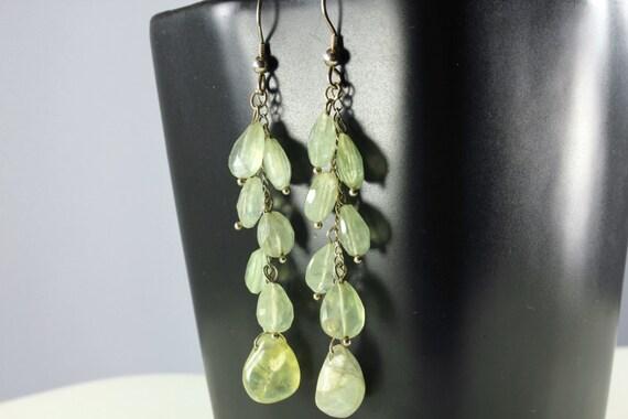 Prehnite Earrings, Sterling Silver, Cluster earrings with light green gemstone, fine earrings, dangle statement earrings, gift for her