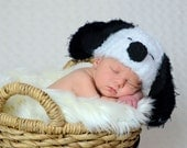 Soft and fuzzy  Snoopy Dog Crochet hat  Puppy  Hat, photography prop,  0 to 3 month,crochet hat