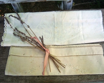 Vintage Baby Pillowcases, antique linens, vintage linens