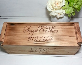 Personalized Wedding Wine Box for Rustic Wedding Love Letter Wine Box Ceremony