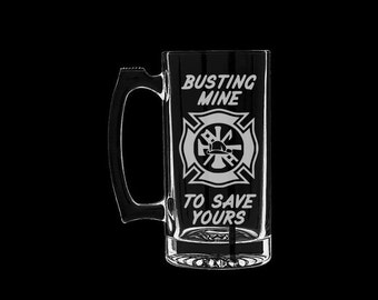 Firefighter Busting Mine to Protect Yours Beer Mug Personalized Customized Funny fire department