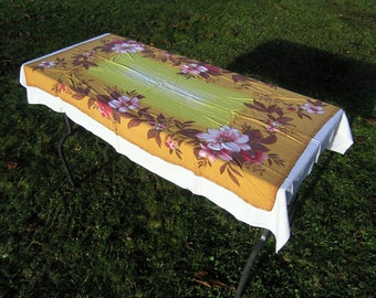 Vintage Tablecloth, Pink Gold and Yellow Floral Tablecloth, Vintage Printed Table Linens with Flowers