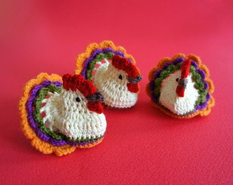 Set of 3 handmade crochet Chickens. Great Easter or Spring home decor. Funny and cute.