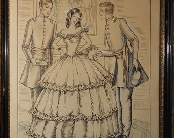 Vintage ink drawing two men courting a woman with back ground ca.1900