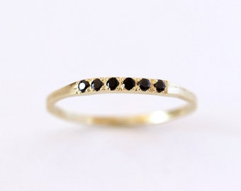 Pave Black Diamond Wedding Band, Thin Diamond Band, Black Diamond Ring, Black Wedding Band, Six Diamonds Band, Modern Wedding Band