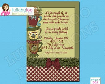 Country Christmas Tea Party Invitations
