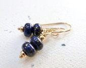 Gold Flecked Lapis Lazuli Earrings / 14K Gold Fill / Gemstone Rondelles / Dangle Earrings / SimplyJoli