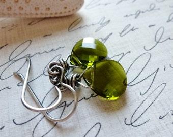 Olive Green Crystal Earrings / Sterling Silver Dangles / Faceted Flat Teardrop / SimplyJoli