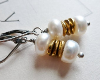 Freshwater Pearl Earrings / Faceted Golden / Sterling Silver / Dangle Earrings / SimplyJoli / Silver & Gold