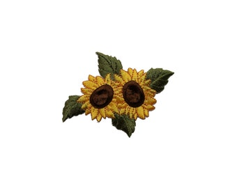 ID #6037 Dual Yellow Sunflower Flower Flora Garden Iron On Applique Patch