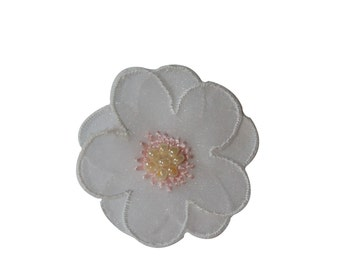 ID #6759 White Beaded Flower Blossom Iron On Embroidered Patch Applique