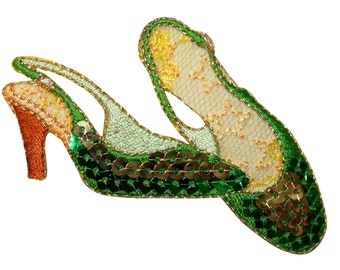 ID #9042 Sequin Pair of High Heel Dress Shoes Embroidered Iron On Applique Patch