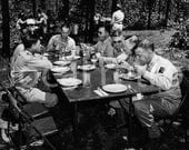 Vintage War B&W Photography Art - WWII Training Lessons - Family Dinner