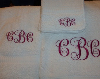 Monogrammed Towel Set Three Pieces Personalized