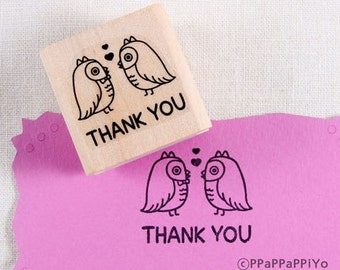 40% OFF SALE Owl Thank you Rubber Stamp