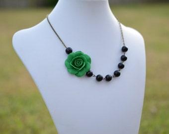 Emerald Green Rose and Black Beads Asymmetrical Necklace, Deep Green Asymmetrical Necklace, Green Wedding Bridesmaid Jewelry.