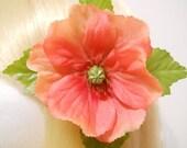 Coral to Pink Poppy, Hair Clip, Romantic, Wedding, Bride, Bridesmaid, Flower Girl, Kawaii, Fairy, Natural, Real Look, Hippie, Mori Girl