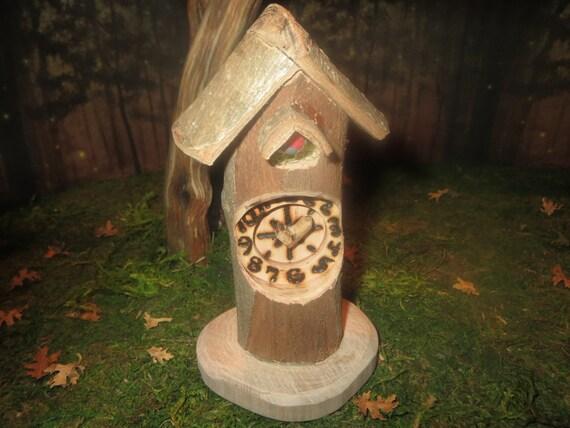 Wood fairy house cookoo clock