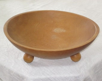 Vintage Footed Wood Bowl Out-of-Round