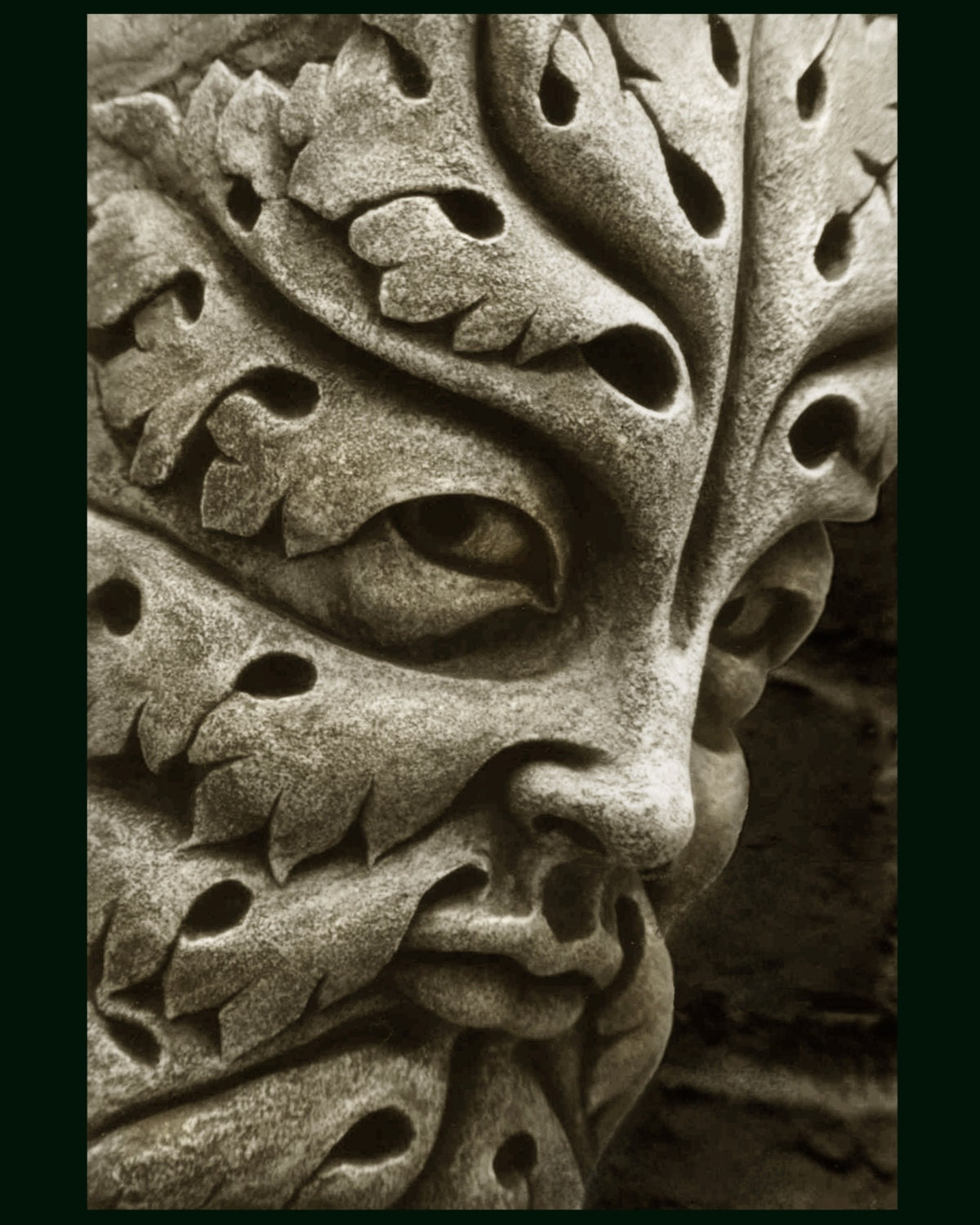 Bamberg green man cast stone leaf face greenman garden