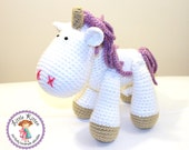 Medium Unicorn Crochet Plush Toy - White and Purple - Made To Order