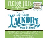 Self-Service Laundry Open 24 Hours Vector Digital Cut File (eps,svg, gsd,dxf, ai, jpg, png)