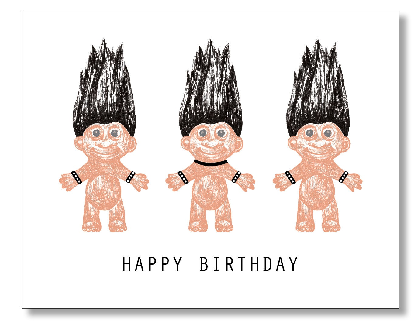 GOTH Troll Dolls HAPPY BIRTHDAY Card Bondage Heavy Metal – Emo Birthday Cards