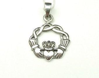 Irish Celtic Claddagh Pendent in Sterling Silver, Necklace,  Celtic Jewelry, Claddagh, Irish, Ireland, Irish Love Necklace,
