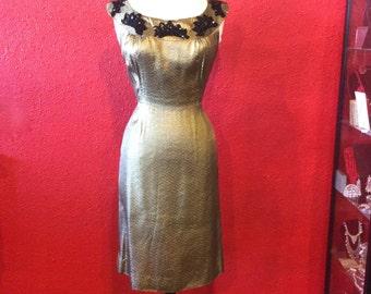 1950s Gold Lurex Large Wiggle Dress Black Sequin Appliques & Bolero