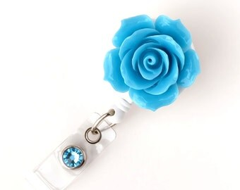 Full Bloom Sea Blu Rose - Retractable ID Badge Holder - Flower Badge Reel - Designer ID Reel - RN Gift - Pretty Name Badge Clip - BadgeBloom