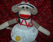 Nurse Classic Brown  Red Heel Sock Monkey Doll