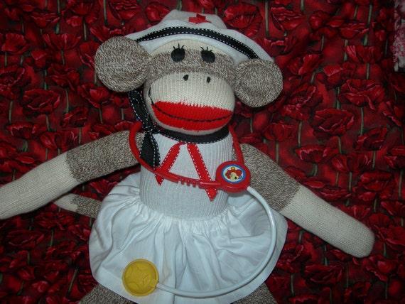 Nurse Classic Brown  Red Heel Sock Monkey Doll