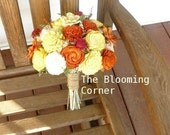 Wedding Bouquet, Sola Bouquet, Orange Yellow Fall Bouquet, Bridal Bouquet, Sola flowers, Bouquet, Handmade