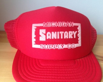Sanitary Supply- Vintage, trucker hat, snapback, red, one size fits all