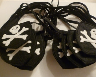 25 x Felt Pirate eye patch on elastic, ideal for dress up/fancy dress/costume party/Halloween