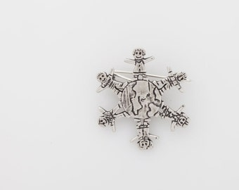"""Beautiful  brooch """"children's world"""",  Valentine day,925 Sterling Silver, Original gift, Child, Mothers day pin"""