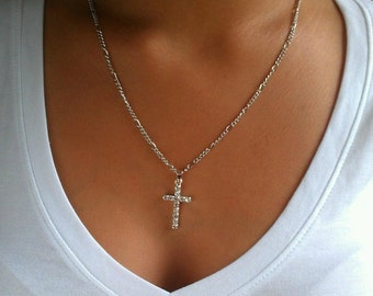 Rhinestone Cross Chain Necklace