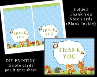 the Woodland Critter Collection - Thank You Cards - Folded Blank Inside Note Cards