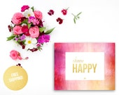 Gold Foil Print Nursery / CHOOSE HAPPY Pink Watercolor