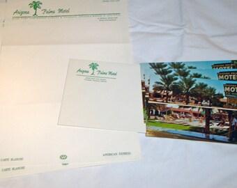 3 Pieces of Unused Fine Linen 1950s Hotel Stationery Arizona Palms Motel Phoenix Arizona 1 Envelope