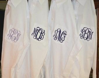 Fast Shipping - Bridal Party Shirts, Monogram Bridal Shirts, Wedding Day Shirts,, Monogram Button Down Shirts, Bridal Shirts