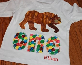 Brown Bear, Brown Bear, First or Second birthday Shirt - Short or Long Sleeve - one and two examples