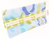 Blue Floral Fabric Checkbook Cover - Modern Checkbook Covers - Cotton Fabric Check Covers - Coupon Holder