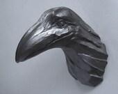 Pablo 1106, Raven, Crow, Bird, Faux Taxidermy, Wall Sculpture, Handmade, Steve Eichenberger, Wall Art