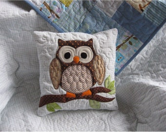 Custom nursery owl pillow cover,  owl nursery decor, custom pillow to match scrappy owl quilt from this shop