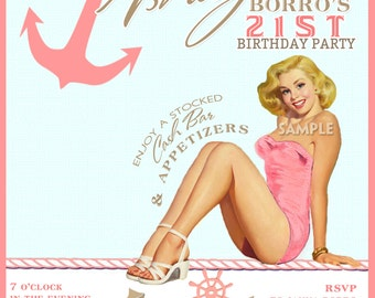 Pink Nautical Vintage Pin Up Girl Invitation- Bachelorette party Hens night Lingerie Shower Birthday invite diy print file or printed