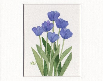 Blue Tulip Group 5x7 Matted Original Watercolor 4 by Wandas's Watercolors