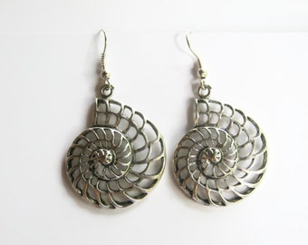 Shell Charm Earrings, Nautilus Ammonite Earrings, Personalized Birthstone Earrings, Ocean Earrings, Fibonacci Sequence, Math Gift