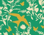 Joel Dewberry Fabric - 1 Metre Bungalow -  Swallow Study in Emerald / Free Spirit Fabric